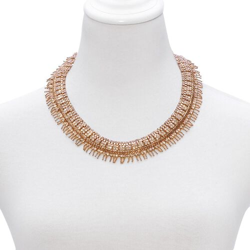 AAA White Austrian Crystal Necklace (Size 18 with 2 inch Extender) in Rose Gold Tone