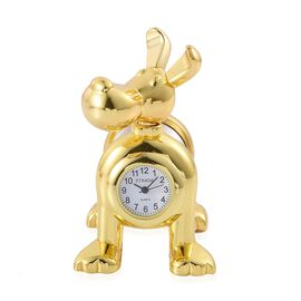 (Option 3) STRADA Japanese Movement Slinky Dog Table Clock in Gold Tone