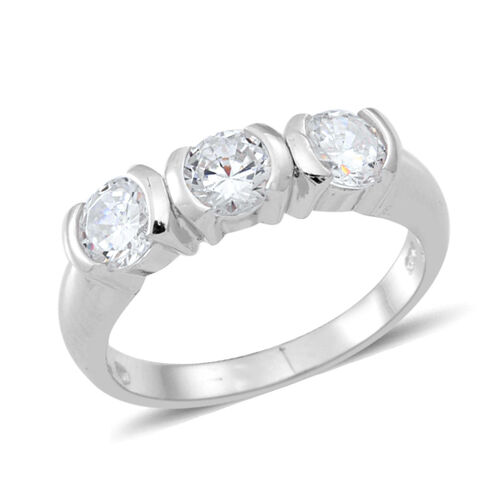 ELANZA AAA Simulated White Diamond (Rnd) Trilogy Ring in Rhodium Plated Sterling Silver