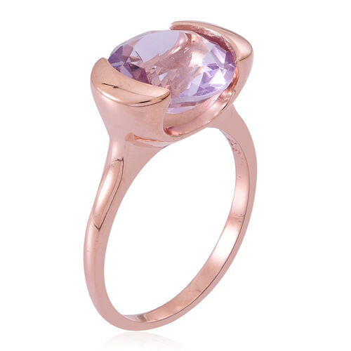Rose De France Amethyst (Rnd) Solitaire Ring in Rose Gold Overlay Sterling Silver 3.000 Ct.