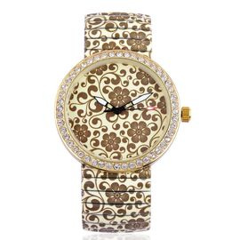 STRADA Japanese Movement Chocolate Colour Floral Print Dial with White Austrian Crystal Water Resistant Watch in Gold Tone with Stainless Steel Back and Stretchable Strap