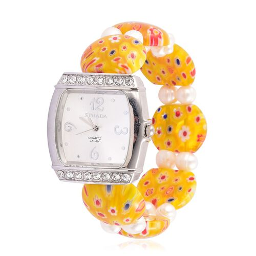 STRADA Japanese Movement White Sunshine Dial with White Austrian Crystal Water Resistant Watch in Silver Tone with Yellow Murano Glass Fresh Water White Pearl Strap