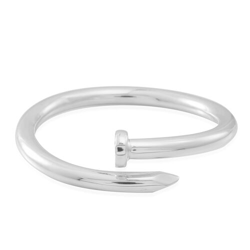 Statement Collection Sterling Silver Nail Bangle (Size 7), Silver wt 18.81 Gms.