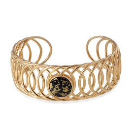 Goldenite (Rnd) Cuff Bangle in 14K Gold Overlay Sterling Silver (Size 7.5) 6.750 Ct.