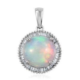 ILIANA 18K W Gold AAAA Wegeltena Welo Opal (Rnd 2.50 Ct), Diamond Pendant 2.750 Ct.