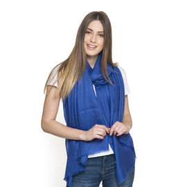 100% Fine Cashmere Wool - Hand Loomed Royal Blue Shawl (Size 200 x 70 Cm)