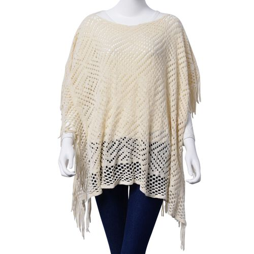 Diamond Pattern Off White Colour Poncho with Tassels (Size 80x70 Cm)