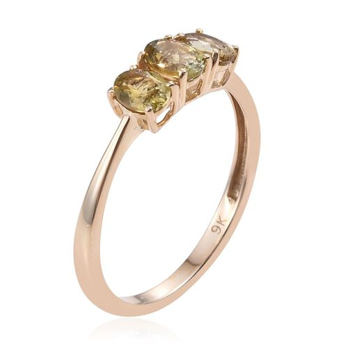 9K Y Gold Natural Yellow Tanzanite (Ovl) Trilogy Ring 1.000 Ct.