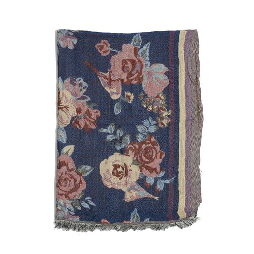 Multi Colour Flowers Pattern Blue Colour Scarf (Size 175x65 Cm)