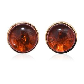 Amber (Rnd) Stud Earrings (with Push Back) in 14K Gold Overlay Sterling Silver 1.250 Ct.