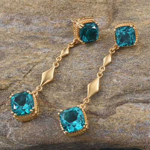 Capri Blue Quartz (Cush) Earrings (with Push Back) in 14K Gold Overlay Sterling Silver 12.500 Ct.