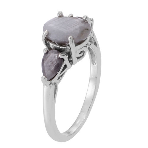 Natural Silver Sapphire (Ovl 3.00 Ct) Ring in Rhodium Plated Sterling Silver 4.500 Ct.