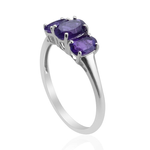 Zambian Amethyst (0.61 Ct) Platinum Overlay Sterling Silver Ring  1.360 Ct.