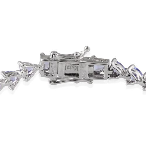 Tanzanite (Trl) Bracelet in Platinum Overlay Sterling Silver (Size 7) 7.000 Ct.
