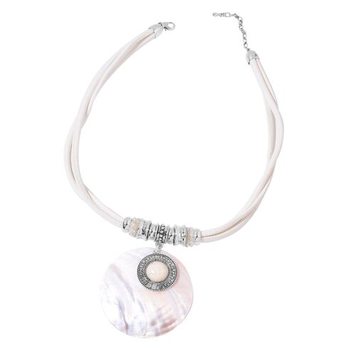 White Shell, White Howlite and Simulated White Diamond Necklace (Size 20 with 2 inch Extender) and Hook Earrings in Silver Tone with Stainless Steel