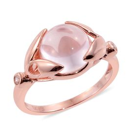 Kimberley Rose Quartz (Rnd 4.40 Ct), Natural Cambodian Zircon Ring in Rose Gold Overlay Sterling Silver 4.500 Ct.