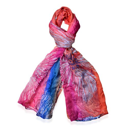 Blue, Rose Red, Orange and Multi Colour Fireworks Pattern Scarf (Size 170 x70 Cm)