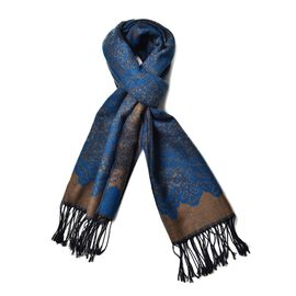 Dark Blue and Chocolate Colour Floral Pattern Scarf with Long Tassels (Size 180x65 Cm)