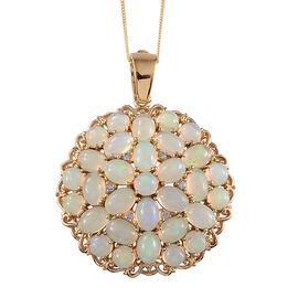 Ethiopian Welo Opal (Ovl), Tanzanite Cluster Pendant With Chain in Yellow Gold Overlay Sterling Silver 13.900 Ct.