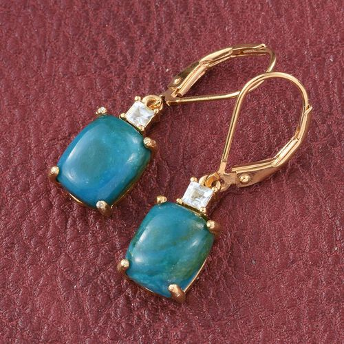 Opalina (Cush), Espirito Santo Aquamarine Lever Back Earrings in 14K Gold Overlay Sterling Silver 5.500 Ct.
