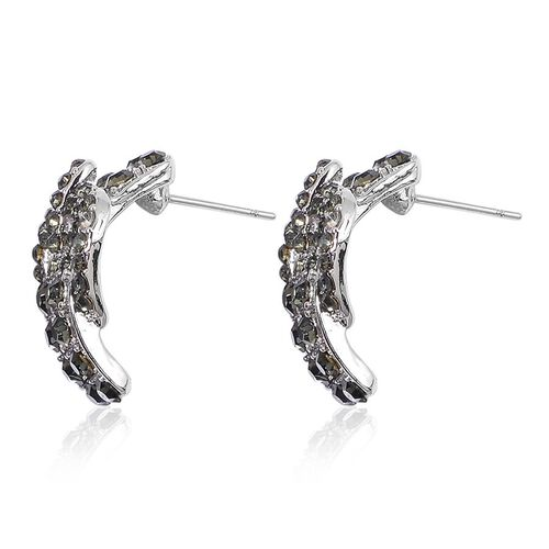 AAA Grey Austrian Crystal Buckle Bracelet (Size 8) and Buckle Stud Earrings in Silver Tone