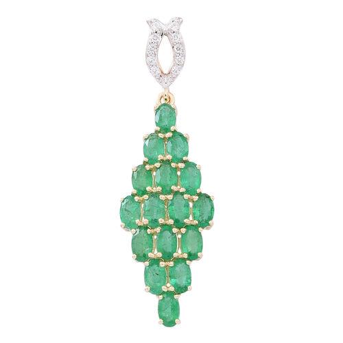 9K Y Gold AAA Kagem Zambian Emerald (Ovl), White Zircon Pendant 4.250 Ct.