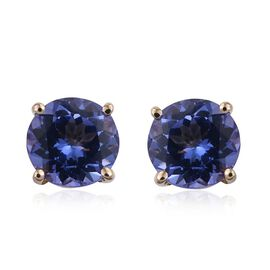 14K Y Gold Tanzanite (Rnd) Stud Earrings (with Push Back) 2.000 Ct.