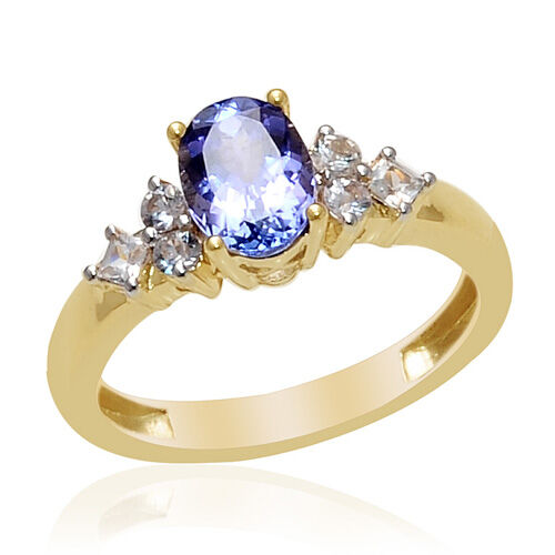 9K Y Gold Tanzanite (Ovl 1.20 Ct) White Sapphire Ring  1.560 Ct.