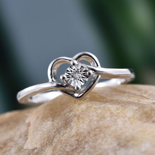 Diamond (Rnd) Promise Heart Ring in Platinum Overlay Sterling Silver