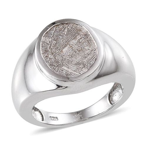 Meteorite (Ovl) Solitaire Ring in Platinum Overlay Sterling Silver 9.250 Ct.