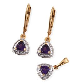 Amethyst (Trl), Diamond Pendant and Lever Back Earrings in 14K Gold Overlay Sterling Silver 0.650 Ct.
