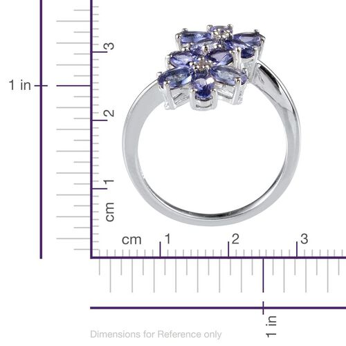 Tanzanite (Ovl), White Topaz Twin Floral Ring in Platinum Overlay Sterling Silver 2.100 Ct.