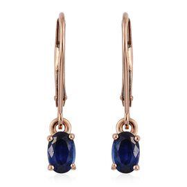 ILIANA 18K Rose Gold 1.25 Carat Ceylon Blue Sapphire Lever Back Earrings