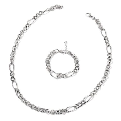 Figaro Necklace (Size 24) and Bracelet (Size 7 with 1 inch Extender) in Stainless Steel