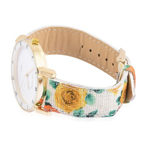 STRADA Japanese Movement Roman Numerals Watch in Gold Tone with Yellow Colour Floral Strap and Stainless Steel Back