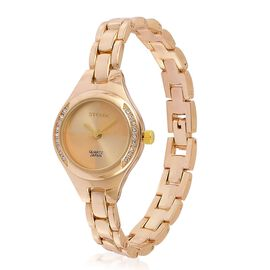STRADA Japanese Movement Sunshine Pattern Golden Dial with White Austrian Crystal Water Resistant Watch in Yellow Gold Tone with Stainless Steel Back and Chain Strap