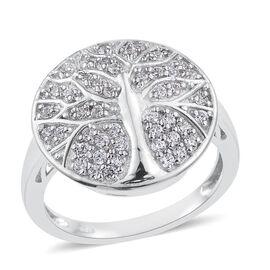 J Francis - Platinum Overlay Sterling Silver (Rnd) Tree Ring Made with SWAROVSKI ZIRCONIA