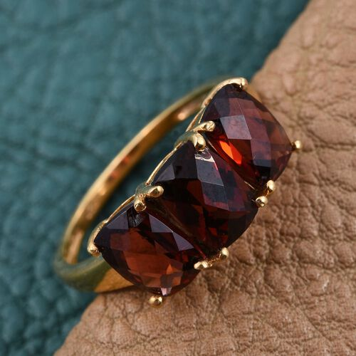 Mozambique Garnet (Cush) Trilogy Ring in 14K Yellow Gold Overlay Sterling Silver 3.000 Ct.
