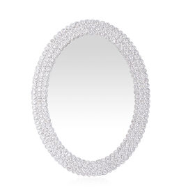 Oval Shape Photo Frame in Silver Tone Decorated with White Austrian Crystal (Size 7x5 inch)