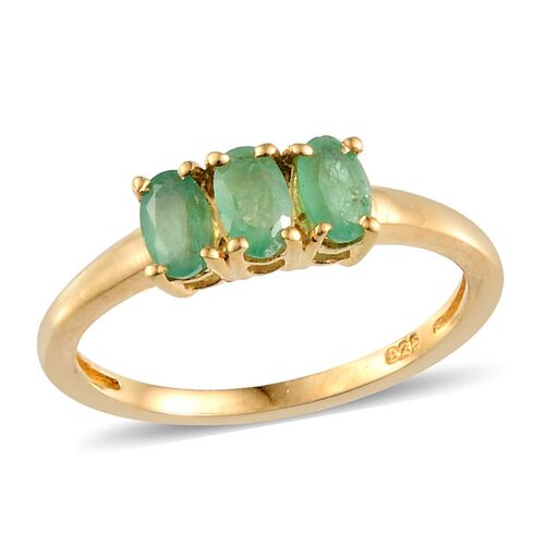 Kagem Zambian Emerald (Ovl) Trilogy Ring in Yellow Gold Overlay Sterling Silver 0.660 Ct.