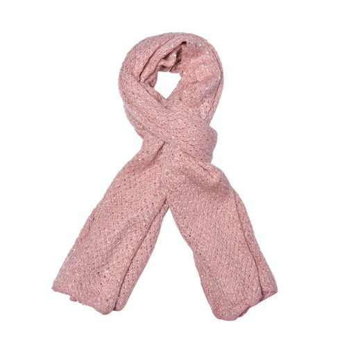 Net Design Pink Colour Scarf with Silver Colour Sequins (Size 180x60 Cm)
