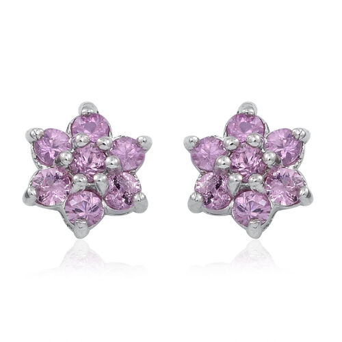 9K W Gold Pink Sapphire (Rnd) Floral Stud Earrings (with Push Back)1.000 Ct.
