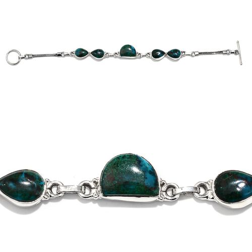 Peruvian Chrysocolla Bracelet in Sterling Silver (Size 7.5) 21.05 Ct.