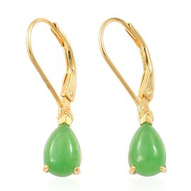 Chinese Green Jade (Pear) Earrings in Yellow Gold Overlay Sterling Silver 3.000 Ct.