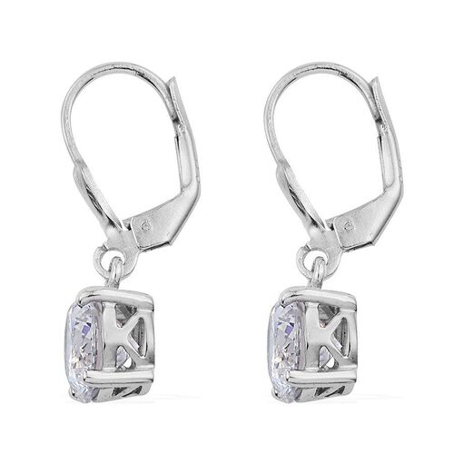 J Francis - Platinum Overlay Sterling Silver (Rnd) Earrings Made with SWAROVSKI ZIRCONIA