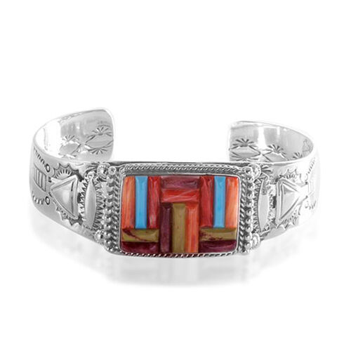 Santa Fe Look Mix Colour Turquoise and Oyster Shell Sterling Silver Bangle