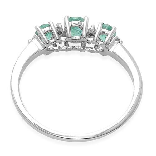 Kagem Zambian Emerald and Diamond Platinum Overlay Sterling Silver Ring  0.58 Ct.