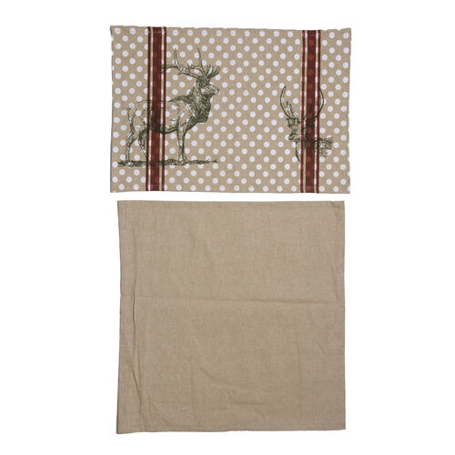 (Option-2) 100% Cotton Stag Design Grey, Maroon and White Colour Table Runner (Size 180x45 Cm)