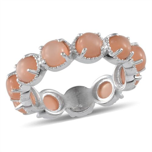 Mitiyagoda Peach Moonstone (Rnd) Full Eternity Ring in Platinum Overlay Sterling Silver 5.750 Ct.