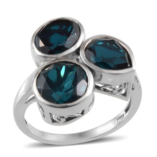Indicolite Quartz (Rnd 2.50 Ct) Ring in Platinum Overlay Sterling Silver 6.250 Ct.